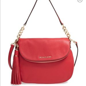 Michael Kors Bedford tassel leather purse red